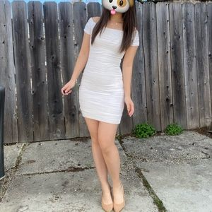 White Form-Fitting Bodycon Dress